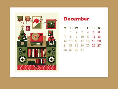 2020 CALENDAR christmas card christmas flat illustration art flat texture retro vector design illustration fine art furniture plants turntables calendar