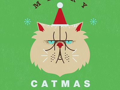 Merry Catmas!!! flat design illustration texture flat illustration vectorart vector cat illustration cat christmas illustration merry christmas merry xmas