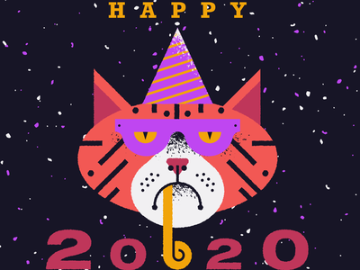 Happy New Year 2020 flat texture vector design illustration party illustration party cat illustration cat 2020 new year happy new year