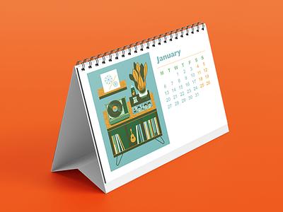 Turntables and Plants Calendar art flat texture retro vector design illustration vectorart furniture vinyl record plants turntables calendar desktop calendar