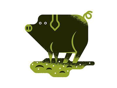 Iberian pork farming animal illustration agriculture nature art flat texture retro vector illustration press illustration editorial illustration farm pig
