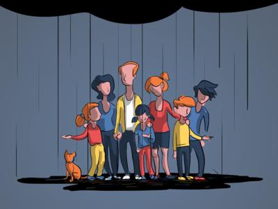 Faceless Family luck cloud rain illustration family
