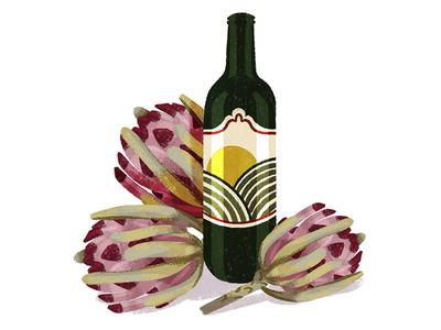 Wine and Proteas photoshop sketch digital illustration illustration protea wine