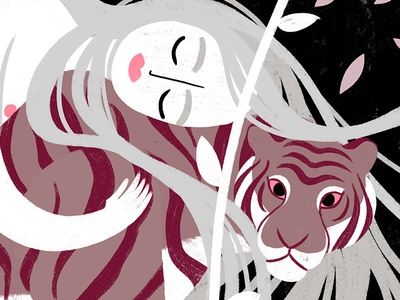 Rapunzel & the tiger jungle forest sleeping stripes ipad procreate digital illustration illustration art illustration pink tiger rapunzel