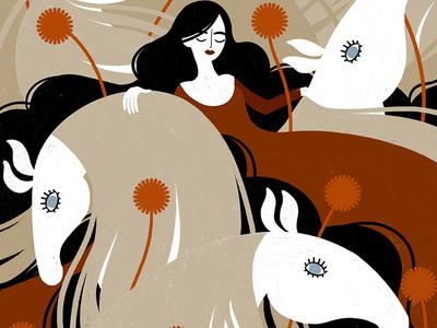 Falada sleeping illustration art procreate digital illustration princess horse iris van den akker falada