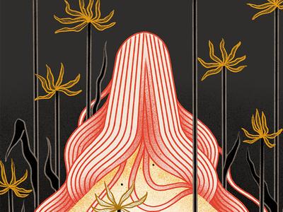 Japanese lilies procreate inktober digital illustration illustration art japan iris van den akker lilies illustration