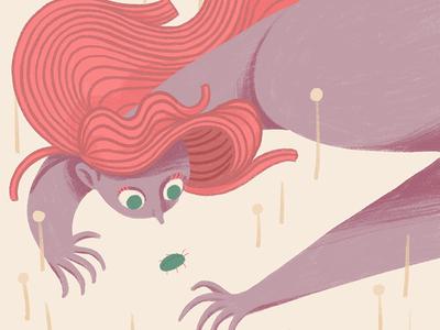 Bug girl illustration procreate iris van den akker digital illustration pink hair girl bug