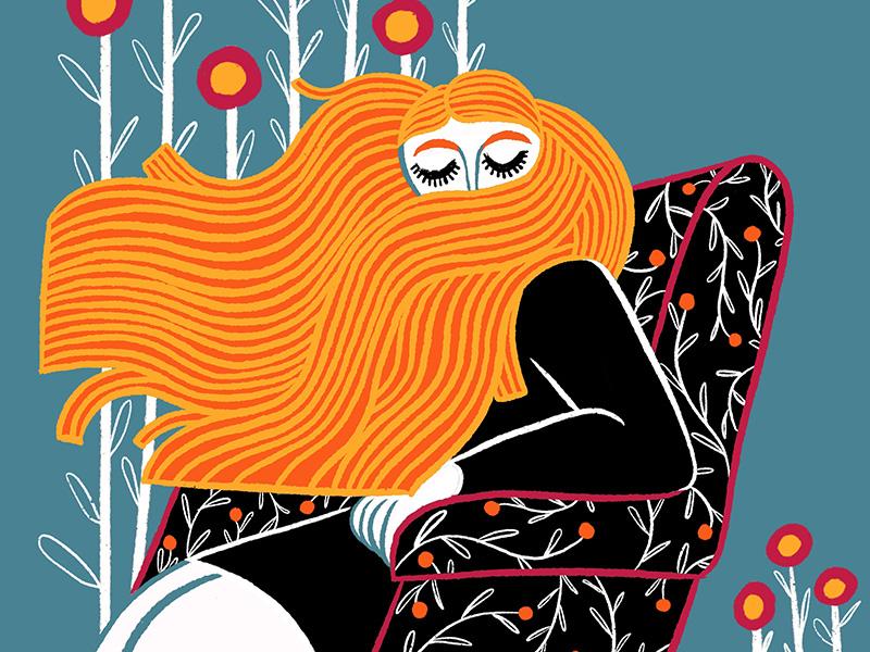 Sitting girl procreate iris van den akker illustration ginger girl