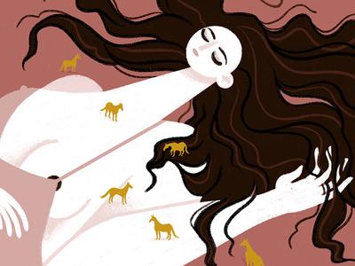 Slumber digital illustration procreate iris van den akker illustration horse pink girl slumber sleeping
