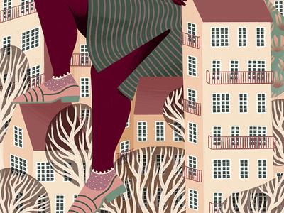 Outgrown procreate digital illustration illustration city houses girl giant iris van den akker outgrown