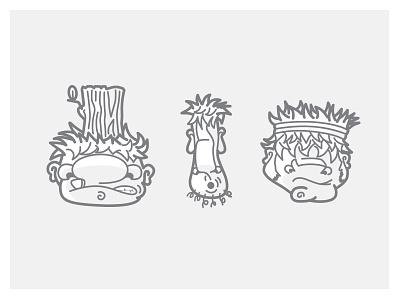 Trollin wip white grey stroke trolls illustration