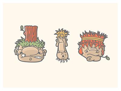 Trollin Painted red green yellow stumps twigs sticks trollsarepeopletoo illustration trolls trollin