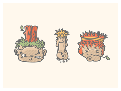 Trollin Painted red green yellow stumps twigs sticks trollsarepeopletoo illustration trolls trollin