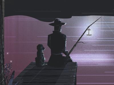 Moonlight Fishing dark silhouette fishing train mountains lake texture purple landscape illustration