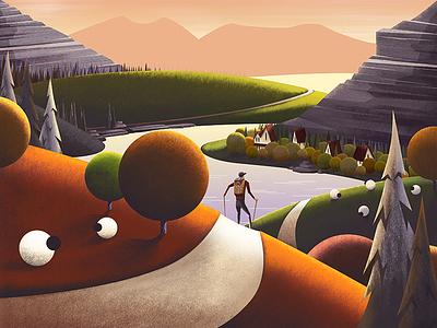 Lake View Illustration limited edition framed artwork art orange brushes water lake sheep texture illustration