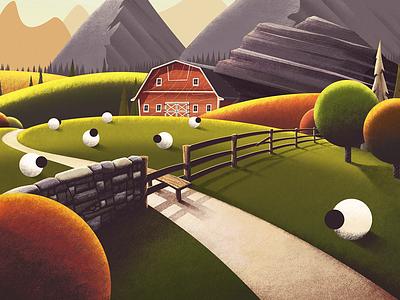 Flock Style limited edition framed artwork art stile trees brushes texture illustration mountains sheep