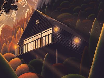 Star Gazer texture branded7 print woods cabin art illustration stargazer