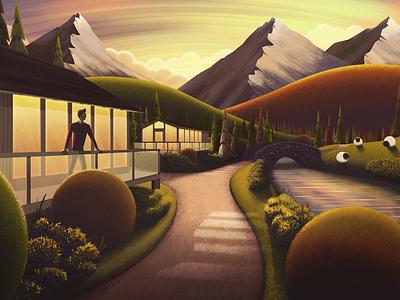 Sunset Cabin river bridge bushes trees landscape mountains sheep illustration cabin sunset art