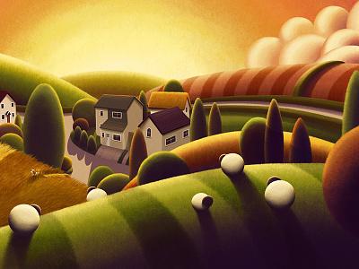 Uffculme branded7 rob palmer trees texture sun hills sheep country landscape illustration art