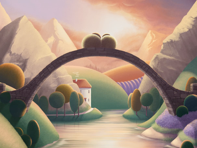 Bridge Over The River Ewe sky pastel hills cottage bridge river mountains print sheep landscape illustration art
