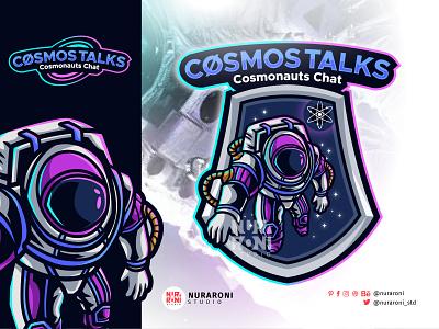CosmosTalk - Astronaut Mascot Logo esport ui illustration design cartoon character gamers esports team twitch astronaut esport logo animation graphic design mascot character vector logo cartoon gaming esports
