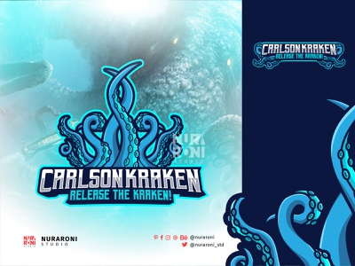 Carlson Kraken Mascot Logo Design logodesigner motion graphics gaming graphic design game stream esportlogo logodesign animation mascotlogo kraken ui illustration design mascot esport character vector logo cartoon