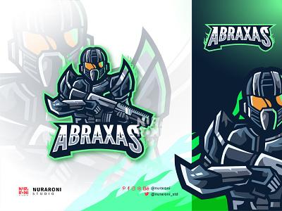 Abraxxas - Trooper Mascot logo robot gun star wars trooper branding motion graphics graphic design 3d animation ui illustration design mascot esport cartoon character character vector logo cartoon esports
