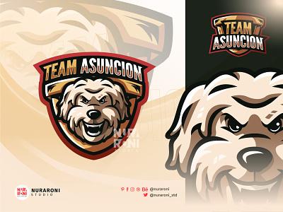Team Asuncion - Dog Mascot Logo game gaming streaming branding motion graphics graphic design 3d animation ui illustration design mascot esport logo character vector cartoon dogs dog logo dog