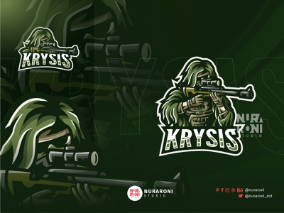 Krysis - Ghillie Sniper Mascot logo branding motion graphics graphic design 3d animation ui illustration design mascot esport character vector logo cartoon assassin killer shooter sniper ghillie