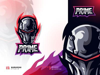 PR1ME - Custom Robot Mascot Logo mascot esport vector cartoon branding logo motion graphics graphic design 3d animation ui headgear visor machine golem android cyborg scifi helmet robot