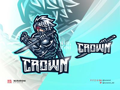 Crown - Assassin Mascot Logo Design motion graphics graphic design animation ui illustration design mascot esport character vector logo cartoon katana warrior shogun samurai swords killers assassin crown