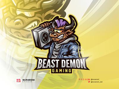 Beast Demon Custom Mascot logo gaming stream branding motion graphics graphic design 3d animation ui illustration design mascot esport character vector logo pig cartoon demon beast