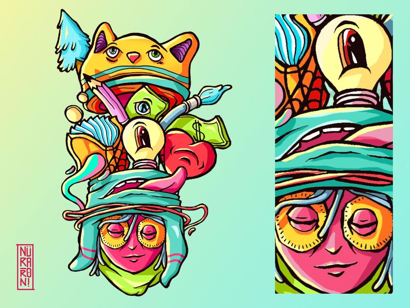 A Head Full Of Trouble 2 mascot illustrations hand drawn drawing vector logo illustrator illustration art illustration digital illustration digital art design character design character cartoon character cartoon art artwork artworkforsale adobe illustrator
