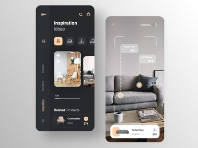 Furniture Shop App vr ar interior black dark mode uxdesign uidesign sketch figma prototype userinterface shopping app adobe xd mobile app furniture minimal ux web ui design