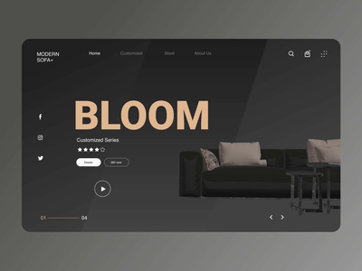 Furniture website uidesign uianimation microinteraction webapplication black dark mode aftereffects figma furniture userexperience userinterface website flat animation app web ui ux minimal design