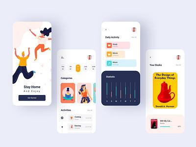 Stay Home App week website web ux ui task quarantine prototype planning organization minimal illustraion figma design corona bookapp book app animation activity