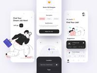 Job Finder App application website ux ui black pink minimal illustraion flat figma design jobfinder finder job app