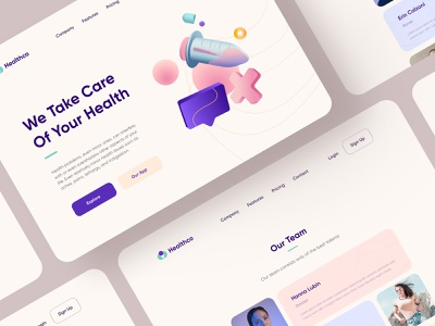 Healthco Website pill nurse doctor clinic flat figma minimal drug hospital medical health 3d website ux ui web design