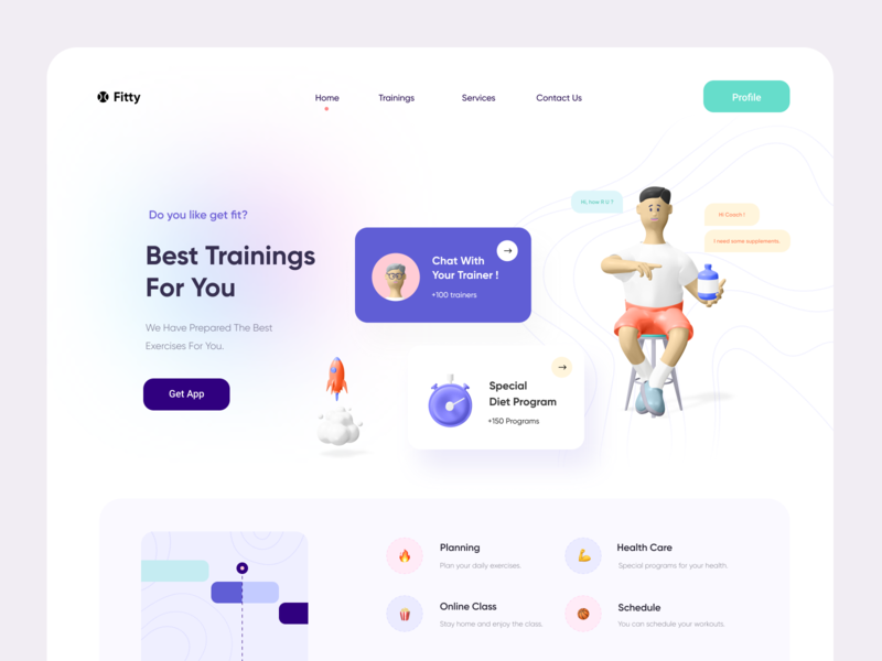 Fitty Landing Page landing page 3d gym workout fitness minimal flat figma illustration website ui ux web design