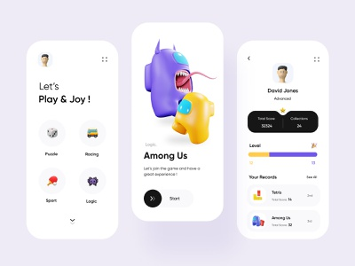 Game Center App character game center application product design among us game flat figma app illustration ux ui design