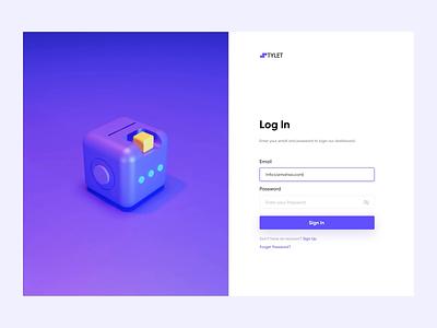 Login Page 3D Animation purple application websites web application product design animation blender login page 3d minimal figma website web ux ui design
