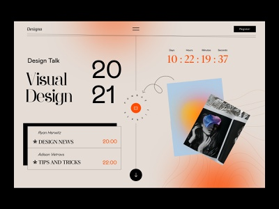 Design Event Website serif grotesque design event ticket visual design elegant web orange ux ui figma minimal landing website retro vintage application app design event