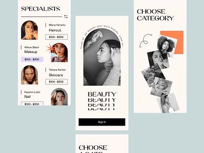 Beauty Center Booking App minimal vintage beauty salon booking girl beauty app retro grotesque figma app ux ui design