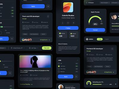 Job Finder Components elements dark uikit hiring job component ui web ux minimal design