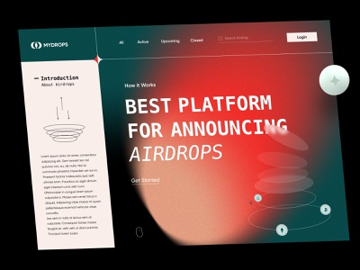 Crypto Airdrops Landing Page landing grotesque airdrop cryptocurrency website web ui ux minimal design