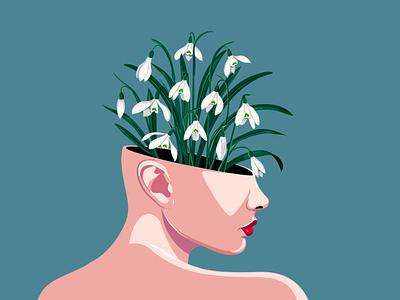 Galanthus minimal snowdrops flat graphic vector illustration floral design vector illustration
