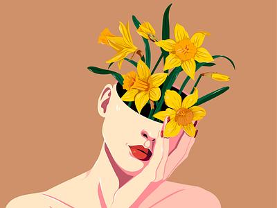 Narcissus artist flat nina aubersek flowers colorful artwork vector vector illustration illustration floral design daffodils