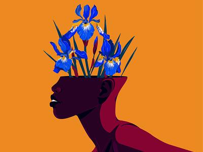 Iris blossoming thoughts flat artist floral art floral design nina aubersek flowers artwork colorful vector illustration vector illustration iris