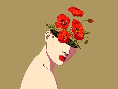 Papaver Rhoeas blossoming thoughts floral art flowers artist nina aubersek vector vector illustration illustration floral design colorful artwork poppy