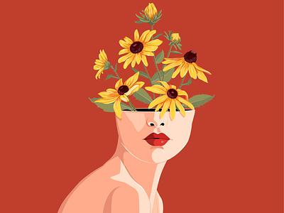 Rudbeckia Hirta blossoming thoughts flat nina aubersek flowers floral design colorful artwork vector vector illustration illustration